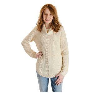 Jeanne Pierre   Fisherman Cowl Neck Sweater